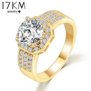 17KM 2017 New Gold Color Austrian Crystal Ring Zircon Engagement bagues Rings for Women Gift Wedding Ring Vintage anillos mujer