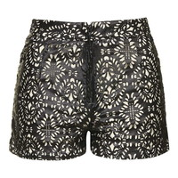 **Boho - Laser Cut Faux Leather Shorts by WYLDR