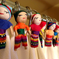 Shower Curtain Hooks. (Male and Female) Guatemalan Worry People (Worry Dolls) Set of 12, brushed nickel