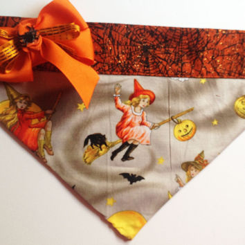 Halloween Good Witch Dog and Cat Bandana with Spider Ribbon Bow- Over the Collar Bandana