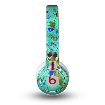 The Trendy Green with Splattered Paint Droplets Skin for the Beats by Dre Mixr Headphones