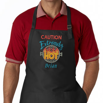Caution Extremely Hot BBQ EMBROIDERED Men's Apron