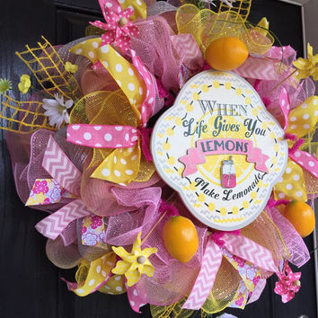 When Life Gives you Lemons Make Lemonade wreath, deco mesh wreath, Summer deco mesh wreath, Spring deco mesh wreath, Spring mesh wreath
