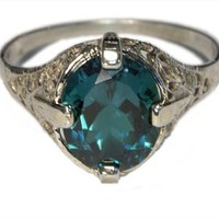Victorian Filigree Ring Emerald : Kashmir Created : 224E117 : Arden Jewelers