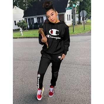 Champion Fashion Women Classic Logo Personality Long Sleeve Top Pants Set Two-Piece Black
