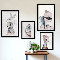 Modern Nordic Cute Rabbit Poster Cartoon Wall Pictures Canvas Painting No Framed