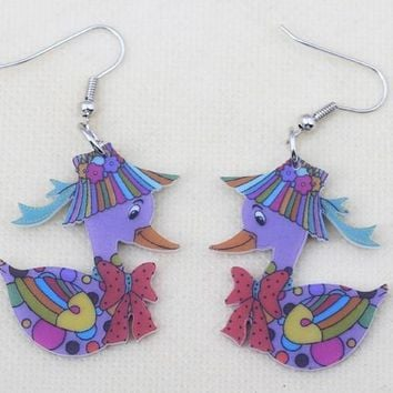 Ducks cute lovely printing drop earrings acrylic new  design spring/summer style for girls woman jewelry