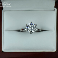 2 Carat Classic Solitaire Engagement Ring, Man Made Diamond Simulant, 6 Prong Wedding Ring, Bridal Ring, Promise Ring, Sterling Silver