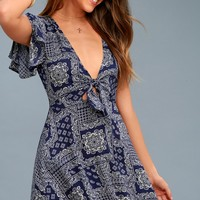 Wild About You Navy Blue and White Print Skater Dress