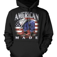 American Made Mens Cowboy Sweatshirt, American Flag Cowboy Boots and Hat Design Pullover Hoodie