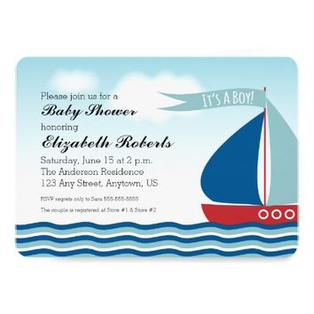 Sailboat on Water It's A Boy, Nautical Baby Shower