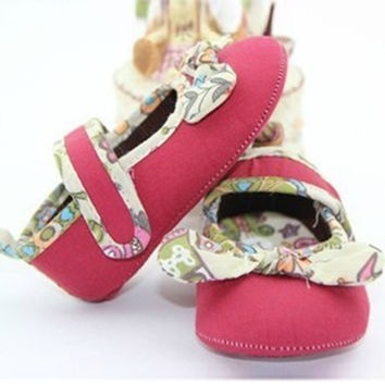 Sweet Baby Girls Cozy Cotton Bowknot Crib Shoes Anti Slip Toddler Shoes 0-12M NW