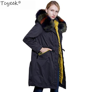 Tcyeek Euroepan New Brand Natural Raccoon Fur Winter Duck Down Jacket Women Long Hood Parka Warrm Plus size Abrigos Mujer LX1276