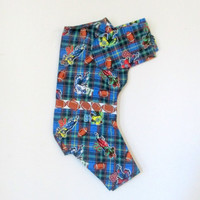 Flanne Little Dog's Pajamas  OOAK Football Print - Dark Blue, Rust, Orange & White