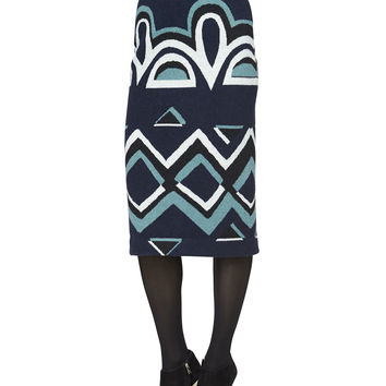 Needlepunch Geometric-Print Wool Skirt, Navy, Size: LARGE, NAVY - Burberry Prorsum