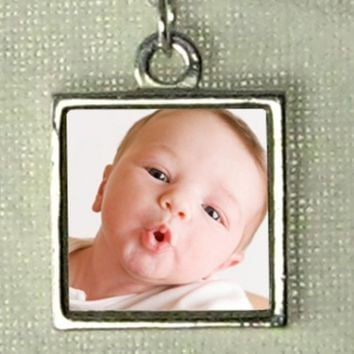 "Custom Photo Charm - Reversible and Waterproof - Sterling Silver - Small Size (1/2"") - Handmade & Finest Quality"