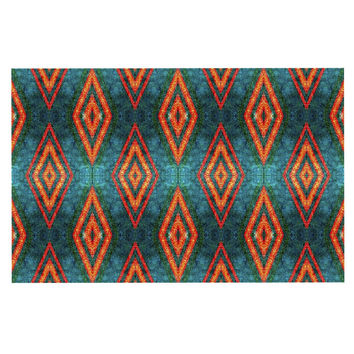 "Anne LaBrie ""Diamond Sea"" Blue Orange Decorative Door Mat"