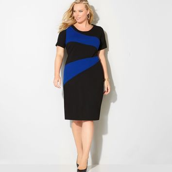 Avenue Royal Angled Plus Size Colorblock Sheath Dress Sz 30/32 NEW
