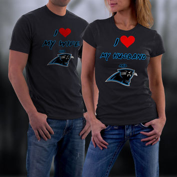 Panthers,Carolina Panthers Couples Shirt,  Panthers Matching Couples tshirts,I love my Husband and the Panthers Shirt,Wedding T Shirts