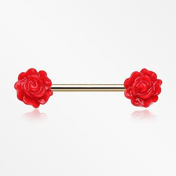 A Pair of Golden Acrylic Rose Blossom Nipple Barbell Ring