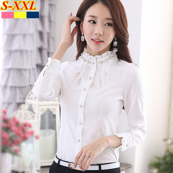 New fashion plus size women's long-sleeve white shirt OL Stand collar Diamonds Formal blouse office ladies work wear clothing