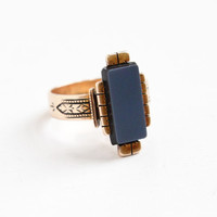 Antique 14K Rosy Yellow Gold Banded Agate Ring - Victorian Late 1800s Size 6 1/2 Blue Black Stone Fine Statement Jewelry