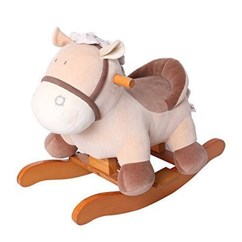 Wooden Rocking Horse Orange Fox, Boys & Girls Toddler Rocking Ride-on Toys for 1-3 years old, Stuffed Animal Seat, ASTM/CE/CE Safety Certified, Creative Birthday Gift