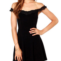 Black Embroidered Lace Off-Shoulder Skater Dress