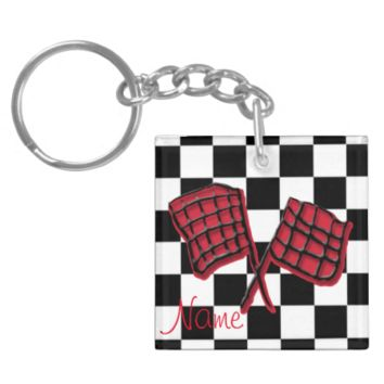 Custom race background and red flag square acrylic keychain