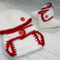 Boys White and Red Baby Diaper Cover, Hat and Booties Set- Baby Shower Gift, Red Wings Hockey, Base Ball
