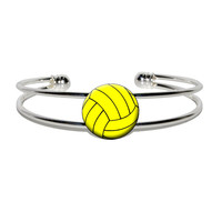 Water Polo Water Polo Ball Silver Plated Metal Cuff Bracelet