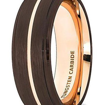 CERTIFIED 8mm Rose Gold 18k Wedding Band Rare Brown Brushed Tungsten Ring Thin Groove Step Edge Comfort Fit