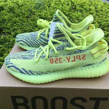 Best Online Sale Kanye West x Adidas Yeezy 350 V2 Boost Semi Frozen Yellow Sport Shoes  Running Shoes B37572