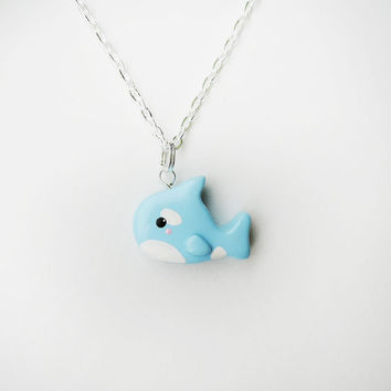 Cute Blue Orca Whale Charm Necklace