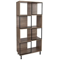 """Paterson Collection 26"""" x 58.75"""" Rustic Wood Grain Finish Bookshelf and Storage Cube"""