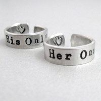 Personalized Set of TWO Rings Her One / His Only by emerydrive