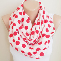 Red Polka Dots Infinity Scarf, Red Scarf, Polkadots Scarf Women Accessories