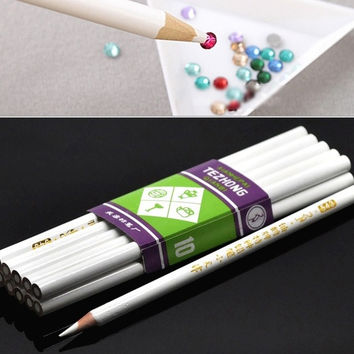 10PCs Rhinestone Pickup Pencils Tools for Nail Art,Scrapbooking (Size: 17.4cm, Color: White) = 1705723652