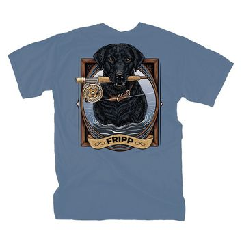 Dog Fishing Pole T-Shirt in Marine Blue by Fripp Outdoors