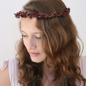 Deep Wine Red Winter Pip Berry Vine Crown, Hair Wreath, Circlet, Wedding, Bridal, Bridesmaid