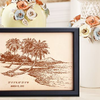 Lik209 Leather Engraved Wedding 3rd anniversary Bungalow Sea Caribbean islands date name honeymoon