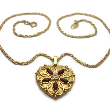 Vintage Avon Heart Pendant Necklace - Gold Tone and Red & Clear Rhinestones Faux Ruby - 18 inch Chain July Birthstone