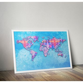 Blue Mandala Fabric Map Of Earth Yoga Grunge Hippie  Poster Bohemian Art Print Poster Design no frame 20x30 Large