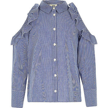 Girls blue stripe cold shoulder frill shirt