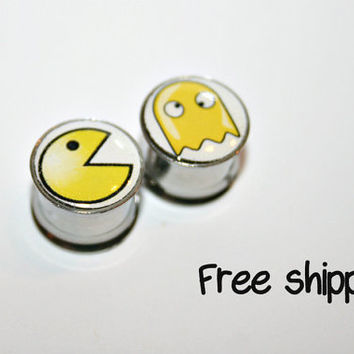 Pacman and ghost -Stainless steel gauges- Ears plugs-Double flare-Free shipping for US and Canada (12)