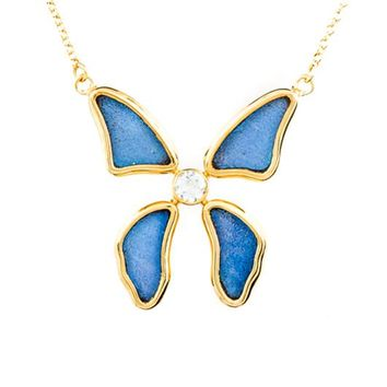 Gold butterfly necklace with blue topaz birthstone - Iridescent Blue  Morpho Didius