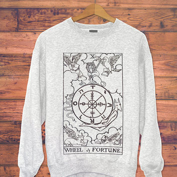 Tarot Card Wheel of Fortune Sweatshirt // Women's Sweater // Boho Clothing - Bohemian Top // Women's Urban Clothing // Graphic Sweatshirt