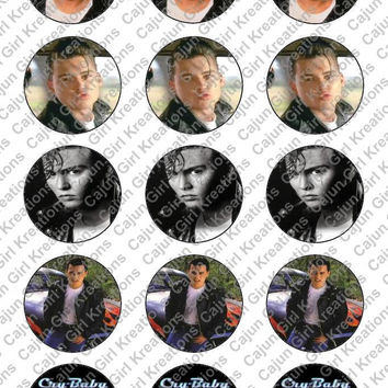 """Johnny Depp Cry Baby 1"""" Round Circles Bottle Cap Images Cupcake Toppers Instant Download Digital Emailed 4x6"""