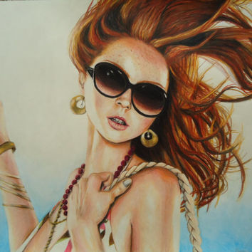 Fashion Illustration - Original drawing of Lily Cole - Model artwork - Colored pencil drawing