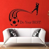 Wall Decals Quote Do Your Best Soccer Player Man Sportsman Sport People Decal Vinyl Sticker Gym Living Room Bedroom Decor Home Interior Design Art Murals